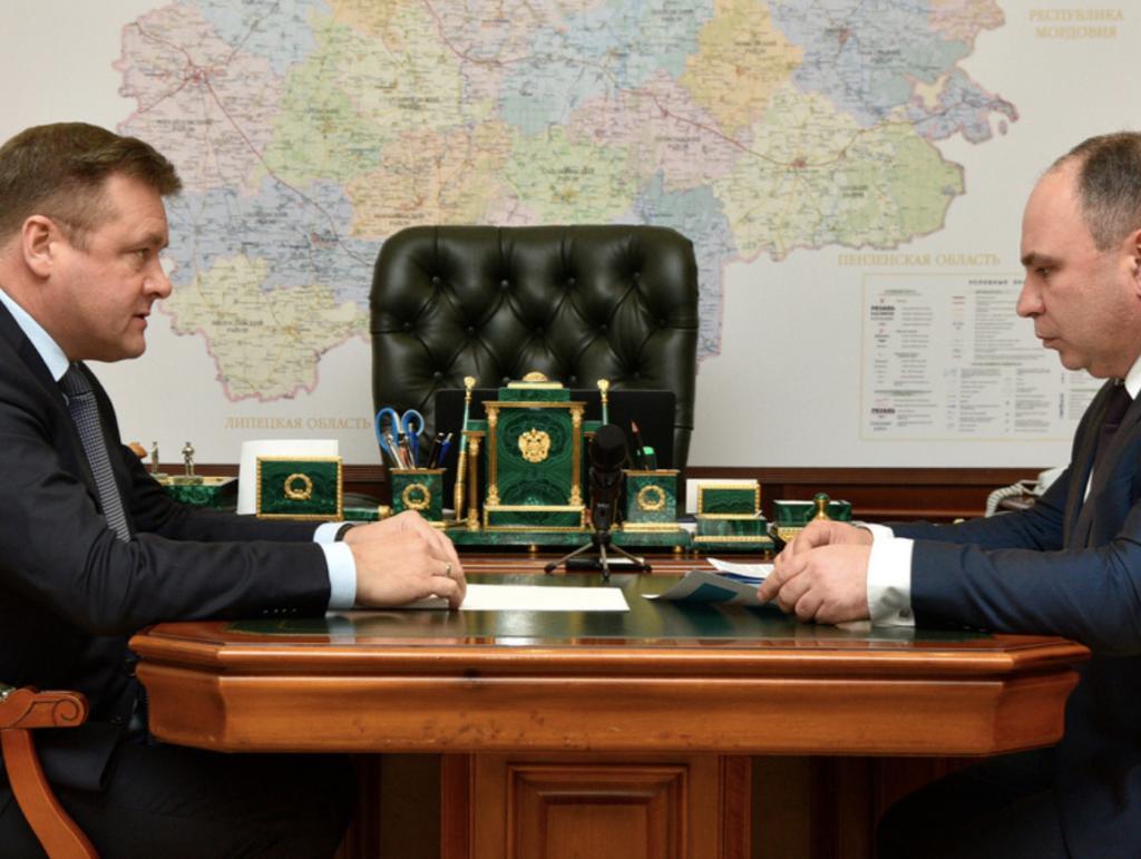 Губернатор Николай Любимов провел рабочую встречу с министром сельского хозяйства и продовольствия Рязанской области Борисом Шемякиным